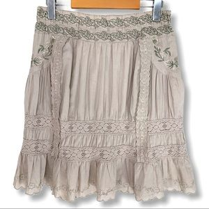 Suzy Shier Eyelet Lace Embroidered Mini Skirt